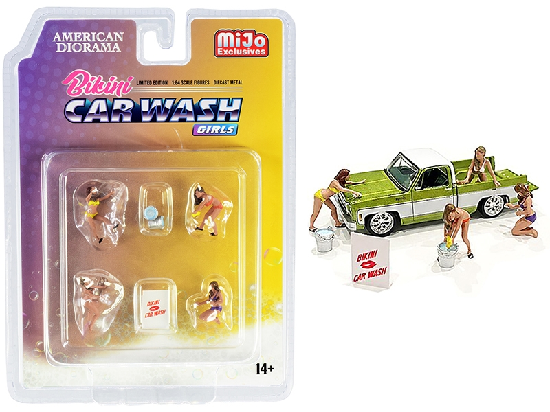 Bikini Car Wash Girls Diecast Set of 7 pieces (4 Figurines and 3 Accessories) for 1/64