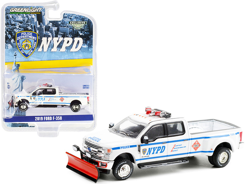 """2019 Ford F-350 Dually Pickup Truck with Snow Plow White """"New York City Police Department"""" (NYPD) """"Hobby Exclusive"""" 1/64"""