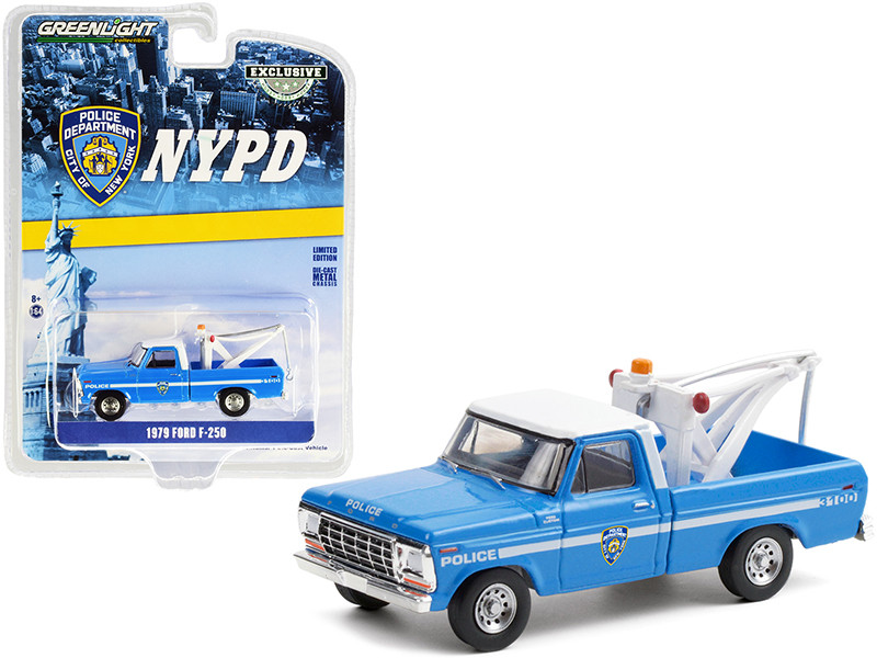 """1979 Ford F-250 Tow Truck with Drop-In Tow Hook Blue with White Top """"New York City Police Dept."""" (NYPD) """"Hobby Exclusive"""" 1/64"""