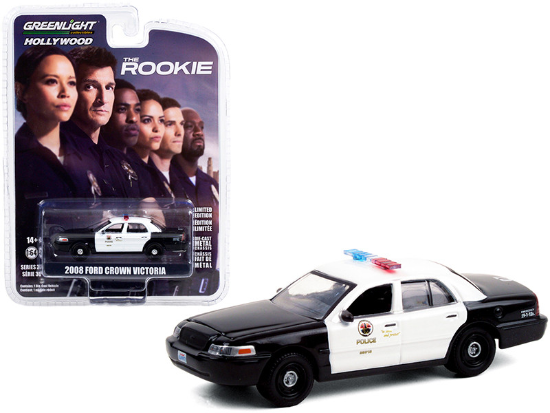 """2008 Ford Crown Victoria Police Interceptor Black and White """"Los Angeles Police Department"""" (LAPD) """"The Rookie"""" (2018) TV Series """"Hollywood Series"""" Release 30 1/64 Diecast Model Car by"""