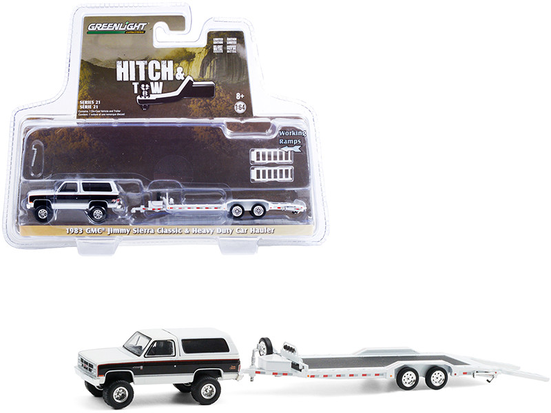 """1983 GMC Jimmy Sierra Classic Pearl White and Black with Heavy Duty Flatbed Car Hauler """"Hitch & Tow"""" Series 21 1/64"""