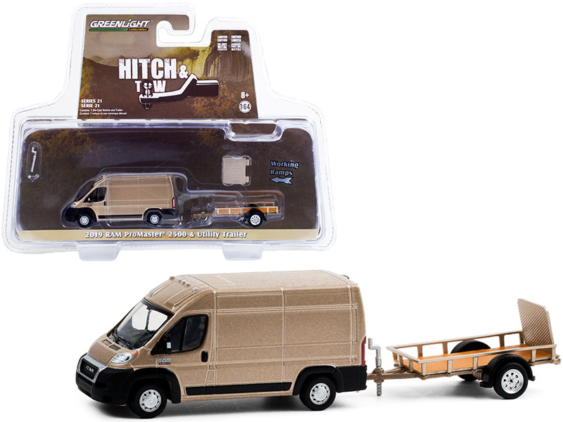 """2019 Ram ProMaster 2500 Cargo High Roof Van Brown Metallic with Flatbed Utility Trailer """"Hitch & Tow"""" Series 21 1/64"""