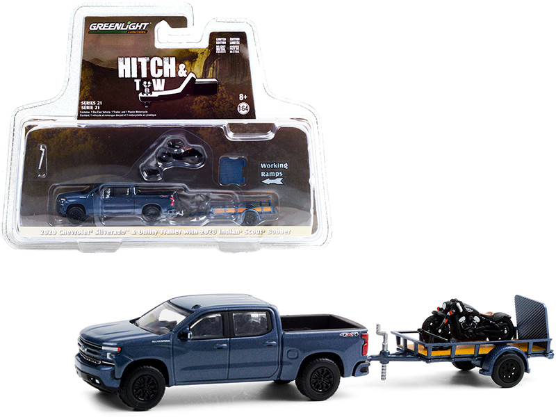 """2020 Chevrolet Silverado 4X4 Pickup Truck Dark Blue Metallic with Flatbed Utility Trailer and 2020 Indian Scout Bobber Motorcycle """"Hitch & Tow"""" Series 21 1/64"""