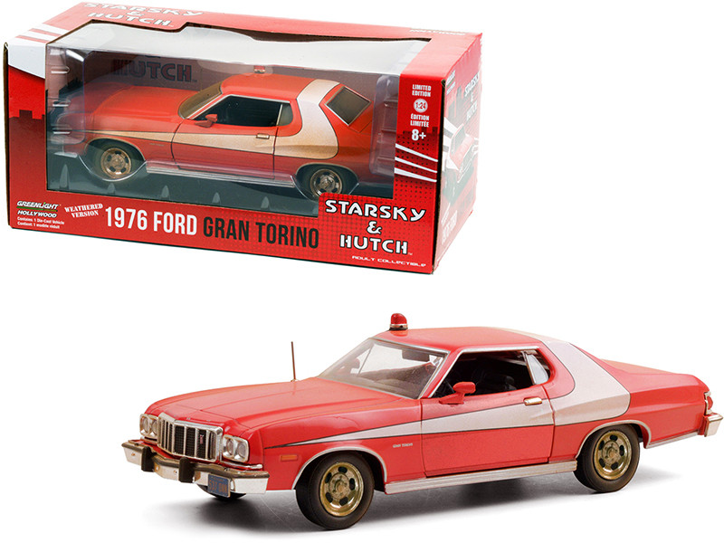 """1976 Ford Gran Torino Red with White Stripe (Weathered Version) """"Starsky and Hutch"""" (1975-1979) TV Series 1/24"""