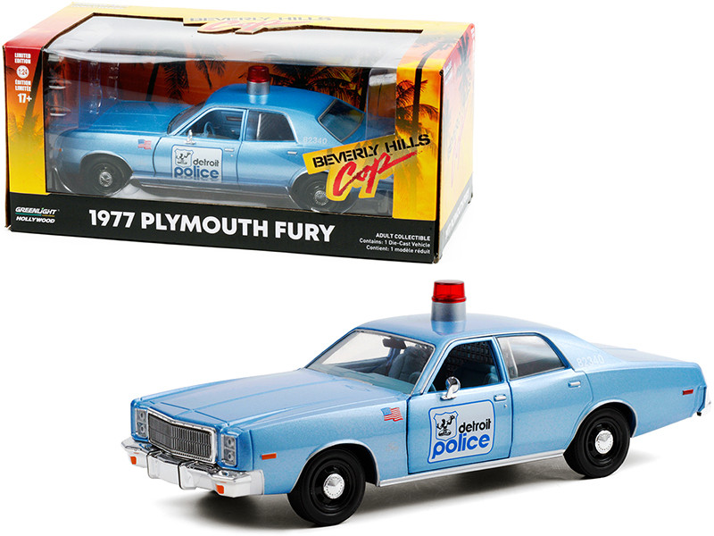 """1977 Plymouth Fury """"Detroit Police"""" Light Blue """"Beverly Hills Cop"""" (1984) Movie 1/24"""