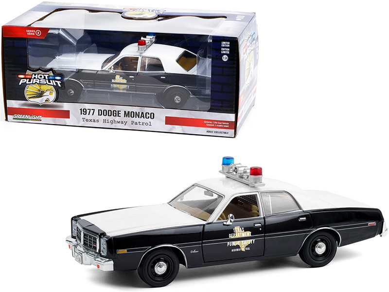 """1977 Dodge Monaco """"Texas Highway Patrol"""" Police Car Black and White """"Hot Pursuit"""" Series 1/24"""