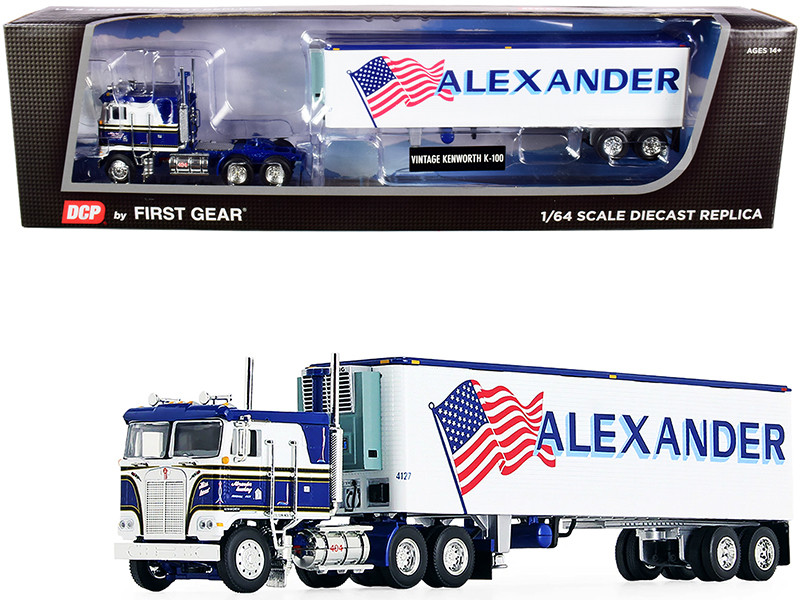 """Kenworth K100 COE Flattop with 40\' Vintage Reefer Refrigerated Trailer """"Alexander Trucking"""" Blue and White 36th in a """"Fallen Flag Series"""" 1/64"""