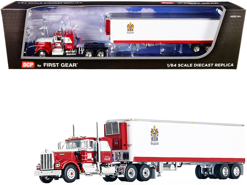 """Kenworth W900A with 36"""" Flattop Sleeper Cab and 40\' Vintage Reefer Refrigerated Trailer """"C.R. England"""" Red and White 1/64"""