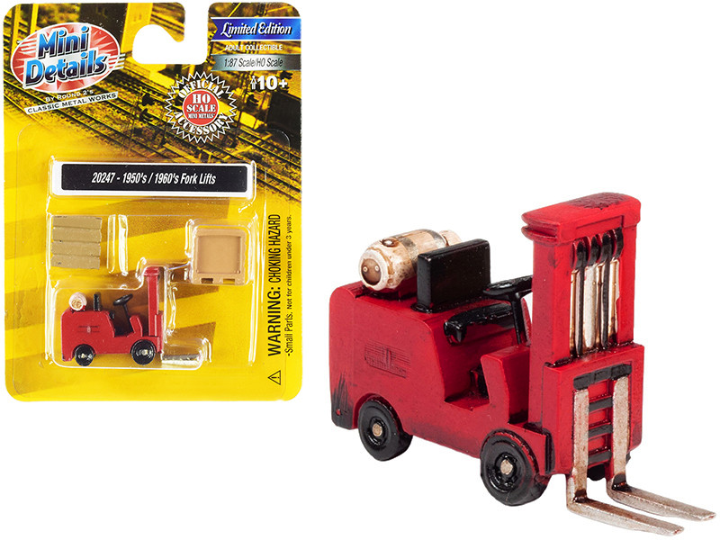 1950's-1960's Forklift Truck Red with Accessories 1/87 (HO)