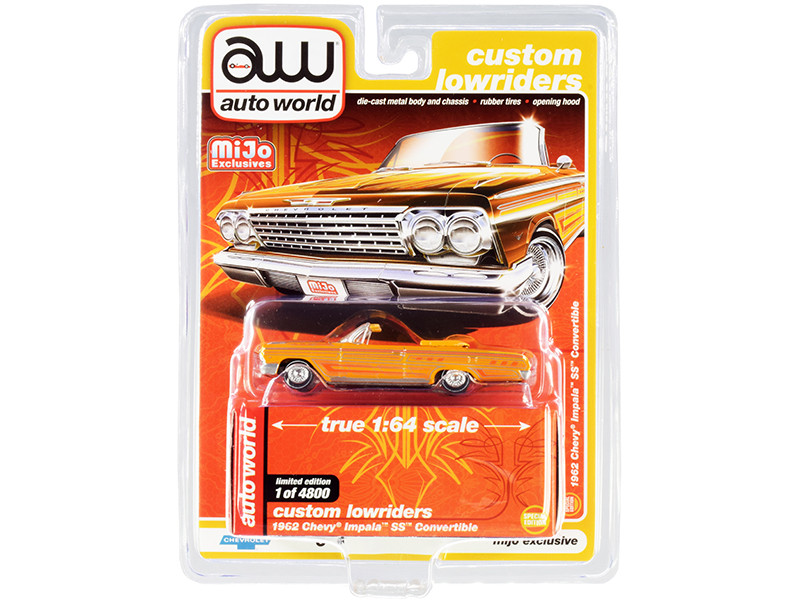"""1962 Chevrolet Impala SS Convertible Yellow with Graphics """"Custom Lowriders"""" 1/64"""