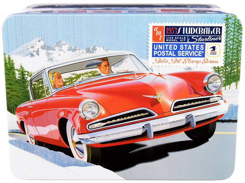 """1953 Studebaker Starliner with """"USPS"""" (United States Postal Service) Themed Collectible Tin Box 3-In-1 Kit 1/25 Skill 2 Model Kit"""