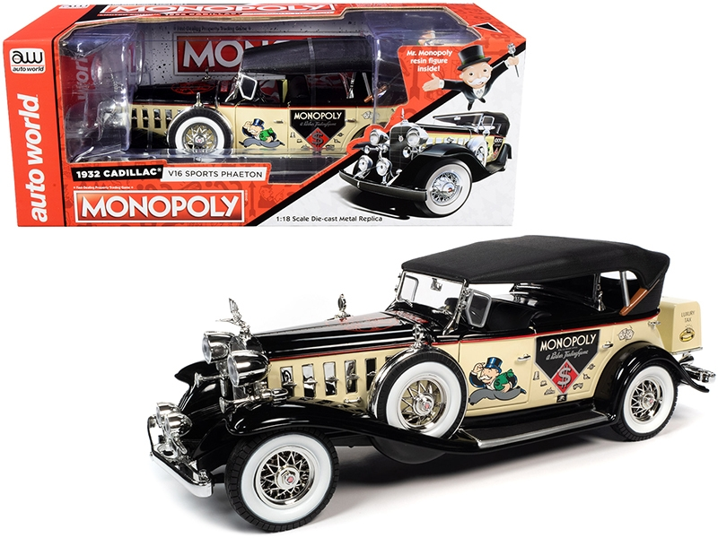 1932 Cadillac V16 Sport Phaeton Convertible and Mr. Monopoly Resin Figurine 1/18
