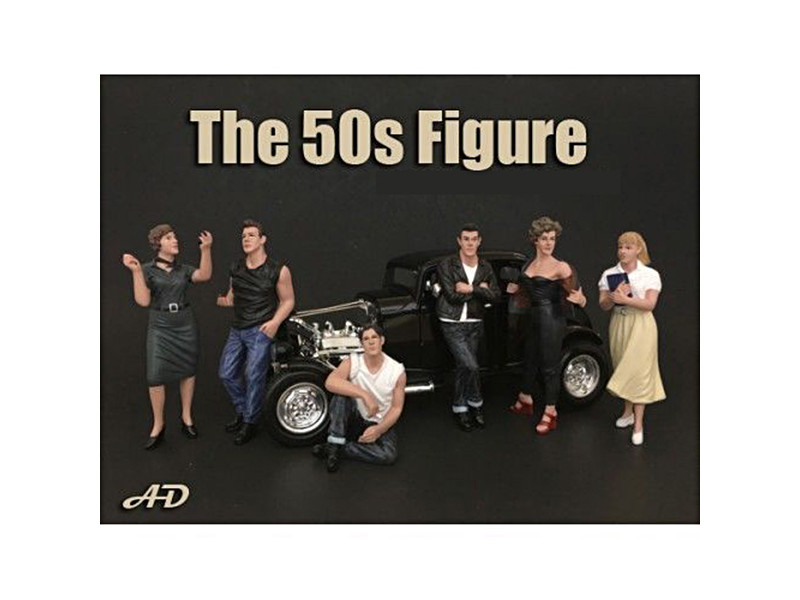 50\'s Style 6 piece Figurine Set for 1/18