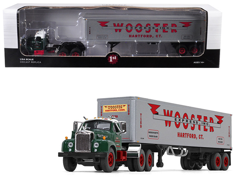 """Mack B-61 Day Cab Green with 40\' Vintage Trailer """"Wooster Express Inc."""" 15th in a """"Fallen Flag Series"""" 1/64"""