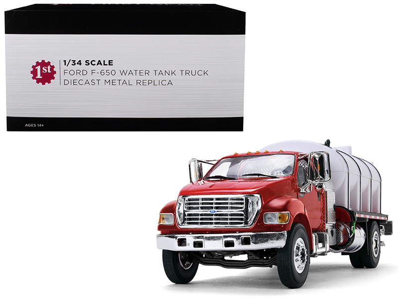 Ford F-650 with Roto Molded Water Tank Truck Red and White 1/34