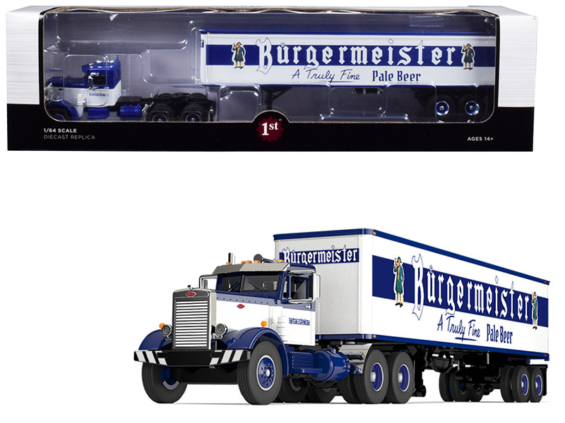 """Peterbilt 351 Day Cab with 40\' Vintage Trailer """"Burgermeister"""" Blue and White 25th in a """"Fallen Flags Series"""" 1/64"""