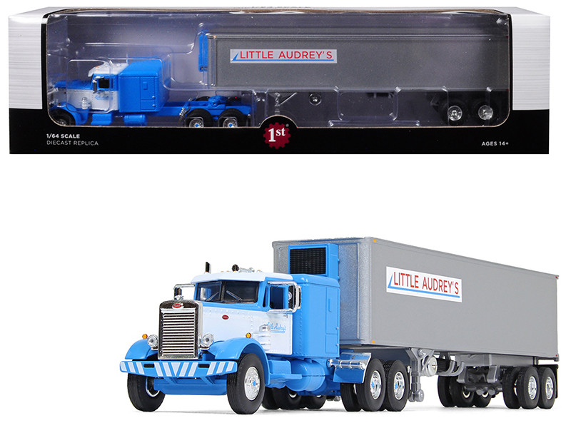 """Peterbilt 351 Long Frame with 63"""" Sleeper Bunk and 40\' Vintage (Reefer) Refrigerated Trailer """"Little Audrey\'s Transportation"""" Blue and White 26th in a """"Fallen Flags Series"""" 1/64 Diecas"""