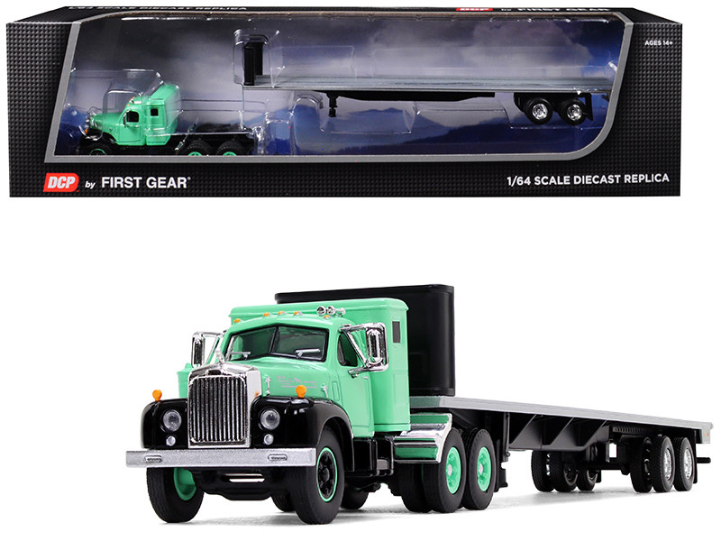 Mack B-61 with Sleeper Cab and 48\' Flatbed Trailer Antique Green 1/64