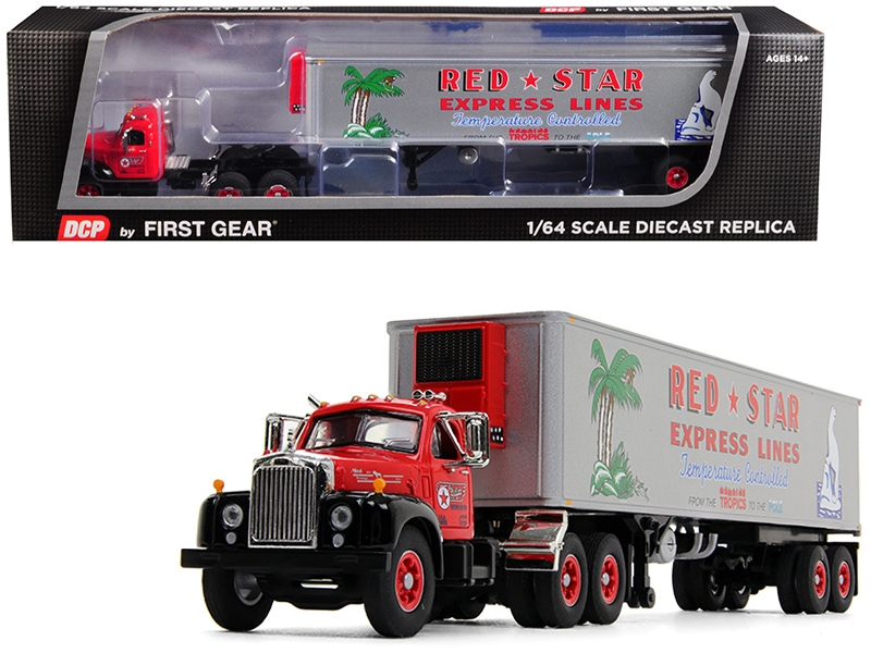"""Mack B-61 Day Cab with 40\' Vintage Reefer Refrigerated Trailer """"Red Star Express Lines"""" 28th in a """"Fallen Flag Series"""" 1/64"""