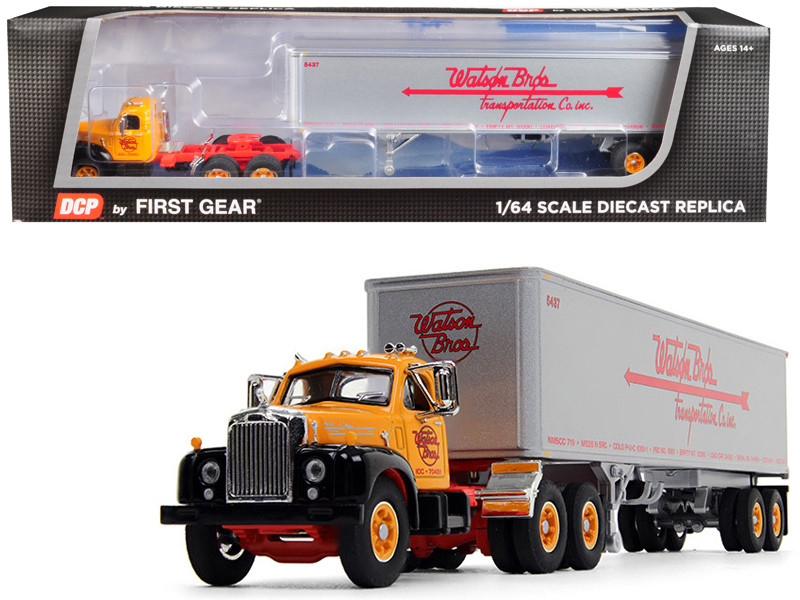 """Mack B-61 Day Cab with 40\' Vintage Trailer """"Watson Bros. Transportation"""" 29th in a """"Fallen Flag Series"""" 1/64"""