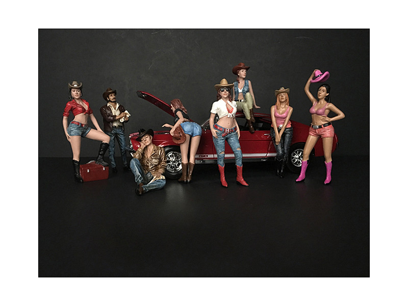 The Western Style 8 piece Figurine Set for 1/18