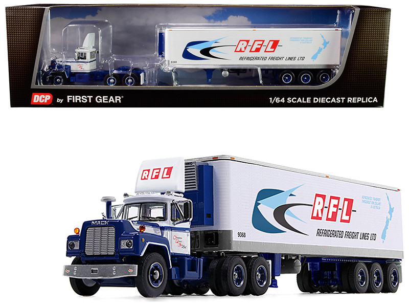 """Mack R Day Cab with 40\' Vintage Reefer Refrigerated Tri-Axle Trailer """"RFL Refrigerated Freight Lines Ltd"""" 31th in a """"Fallen Flag Series"""" 1/64"""