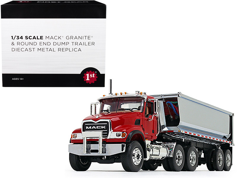 Mack Granite with Round End Dump Trailer Red and Chrome 1/34