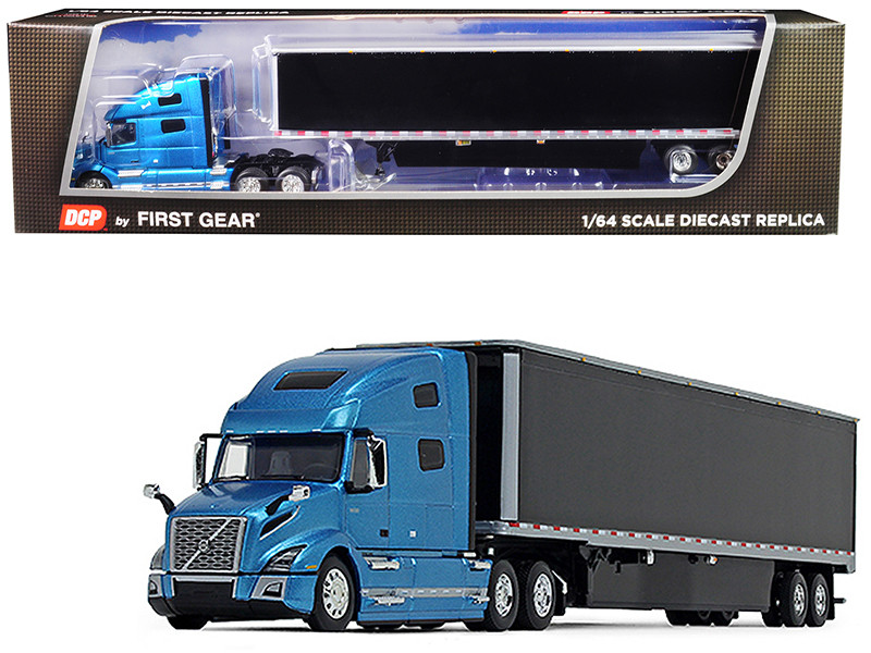 Volvo VNL 760 High-Roof Sleeper Cab with 53\' Dry Goods Trailer and Skirts Sky Blue Metallic and Black 1/64