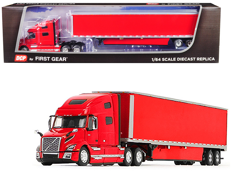 Volvo VNL 760 High-Roof Sleeper Cab with 53\' Dry Goods Trailer and Skirts Viper Red 1/64
