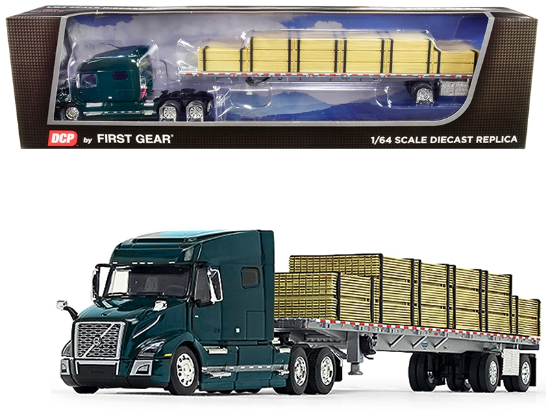 Volvo VNL 760 Mid-Roof Sleeper Cab Forest Green with Wilson Flatbed Trailer and Lumber Load 1/64