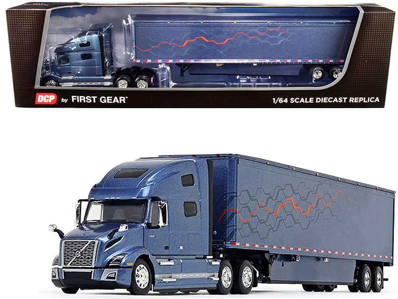 Volvo VNL 760 High-Roof Sleeper Cab with 53\' Trailer and Skirts Smoky Mountain Blue Metallic 1/64