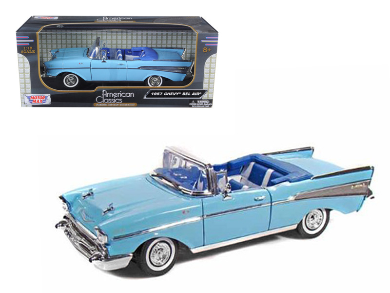 1957 Chevrolet Bel Air Convertible Light Blue with Blue Interior 1/18