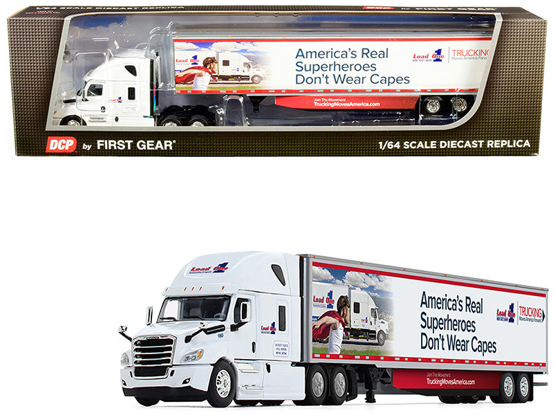 """2018 Freightliner Cascadia High-Roof Sleeper Cab with 53\' Utility Trailer with Side Skirts """"Load One LLC."""" 1/64"""