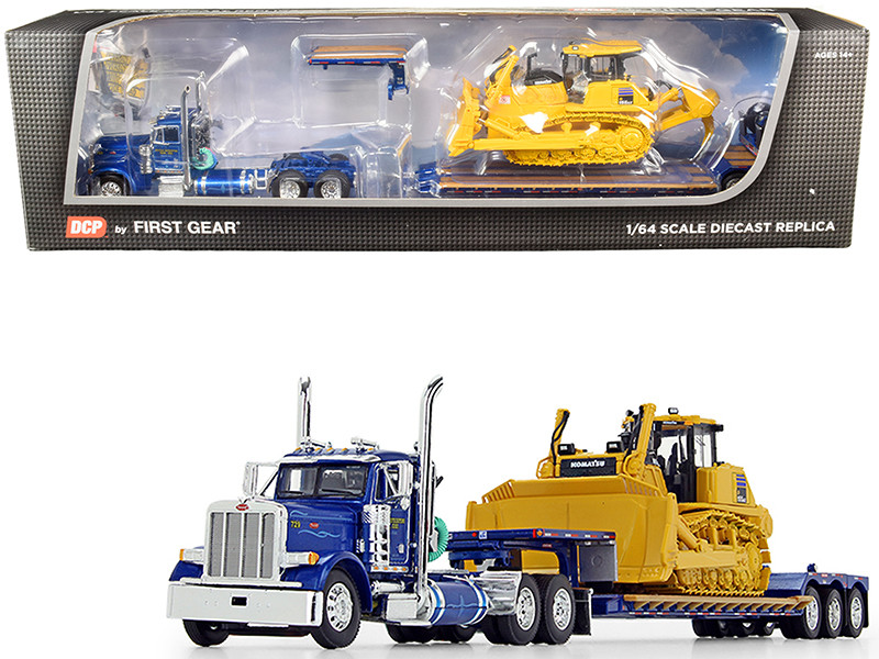 """Peterbilt 379 Day Cab Tractor Truck """"Western Distributing Trans. Corp."""" with Fontaine Renegade Extendable Lowboy with Flip Axle Blue Metallic and Komatsu D155AX-8 Sigmadozer with Ripper Set"""