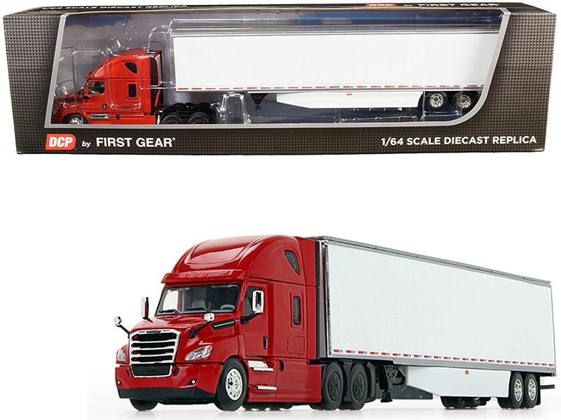 2018 Freightliner Cascadia High-Roof Sleeper Cab with 53\' Utility Dry Goods Trailer with Side Skirts Red and White 1/64