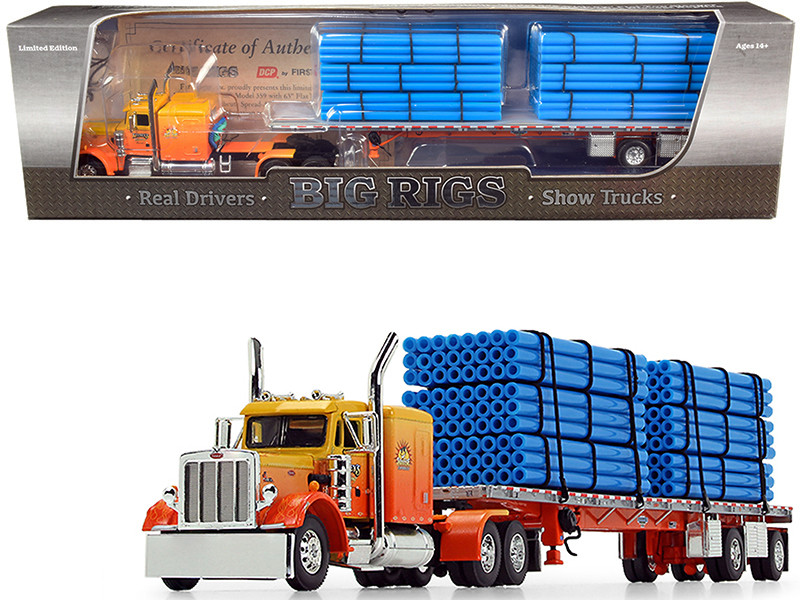 """Peterbilt 359 63"""" Sleeper Cab with Wilson Roadbrute Spread-Axle Trailer with 6 Blue Pipe Loads """"Kelsey\'s Trucking """"Sunrise Express"""" 1st in a """"Big Rigs"""" Series 1/64"""