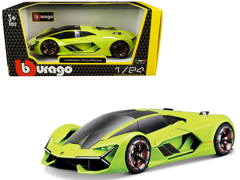 Lamborghini Terzo Millennio Lime Green with Black Top and Carbon Accents 1/24