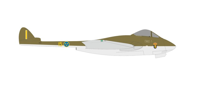 Royal Swedish Air Force DH Vampire J28B (1:72)