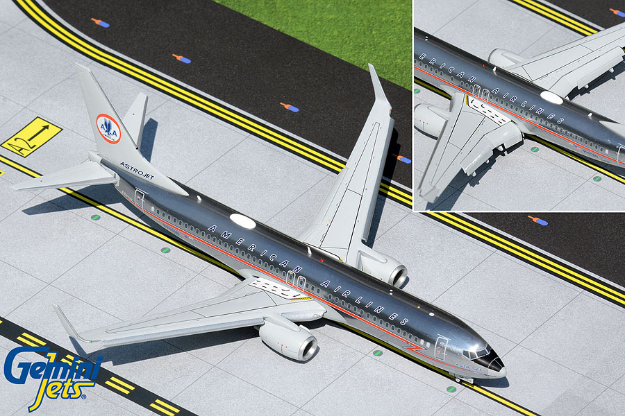"""American Airlines B737-800 N905NN """"Astrojet, Lightning Bolt Livery"""" (polished, flaps down) (1:200)"""