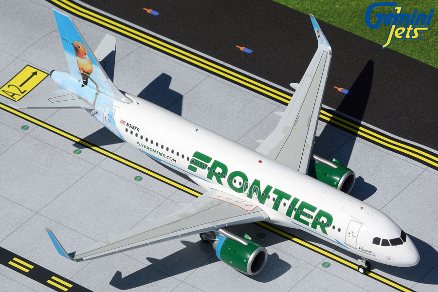 """Frontier Airlines A320neo N318FR """"Flower the Hummingbird"""" (1:200)"""