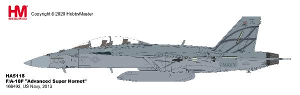 F/A-18F Super Hornet US Navy, 2013 (1:72) - with center-line weapons pod, three fuel tanks and a full weapons load