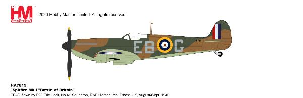 Spitfire Mk.I Diecast Model No.41 Squadron, RAF Hornchurch, Essex, UK,  1940 (1:48)