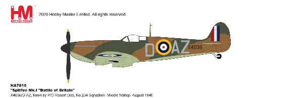 Spitfire Mk.I Diecast Model No.234 Sqnadron, Middle Wallop, August 1940 (1:48)