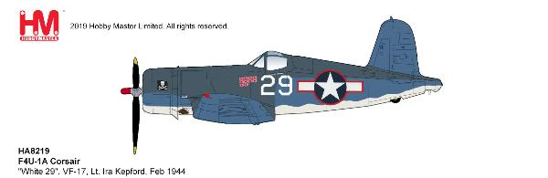 "F4U-1A Corsair ""White 29"", VF-17, Lt. Ira Kepford, Jan 1944 (1:48)"